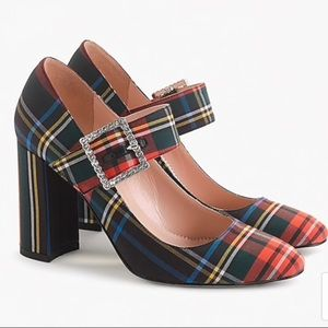 Jcrew Mary Jane Pump In Plaid W/ Buckle